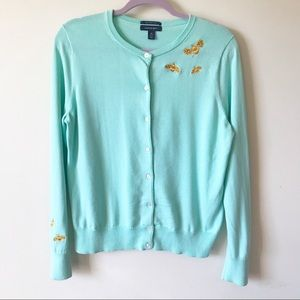 Lands' End    Bee Embroidered Cardigan Size M